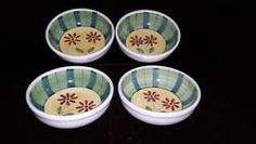 Caleca Enna Hand Painted & Crafted Italy 4 pc Soup Cereal Bowls Red/Green Flower