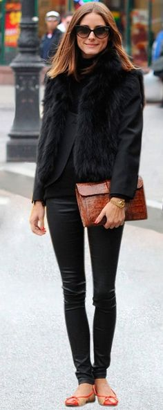 How to Rock: Fur Vests | OliviaPalermo.com  So chic! I love the fur and skinny pant combo, Olivia is my FAVE!