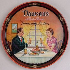 Vintage - Dawson's Brewery Inc of New Bedford - Massachusetts -USA - Dawson's Ale & Beer - ''Naturally Better'' - Tray - 1946