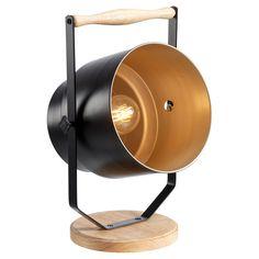 Metalen vloerlamp met houten details. De lamp heeft een mat zwarte buitenzijde en goudkleurige binnenzijde. 53 cm hoog. #vloerlamp #kwantumstijl