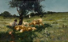 """""""Boy and Sheep under a Tree,"""" Henry O. Tanner, oil on linen canvas, 17 x private collection. Houston Museum, Cleveland Museum Of Art, Museum Of Fine Arts, Art Museum, Henry Ossawa Tanner, Cincinnati Art, Philadelphia Museum Of Art, Life Drawing, Famous Artists"""