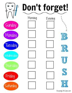 Here's a great printable toothbrushing chart for kids to help encourage them to get in the habit of taking care of their teeth.  Keeping Life Sane
