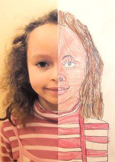 4 Half Self Portraits Project by Hannahs Art Club.