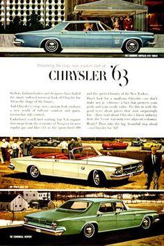 1963 Chrysler Line original vintage advertisement. Features the New Yorker Sedan, Sport 300 Convertible and the Newport Sedan.