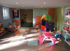 DIY: How to turn your basement into a playroom (separating workout area and play area)