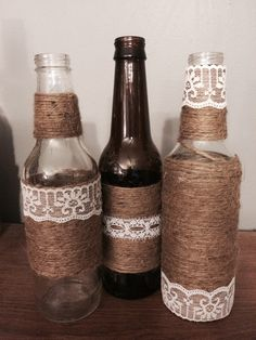 A personal favorite from my Etsy shop https://www.etsy.com/listing/217452325/5-twine-wrapped-beer-bottles-with
