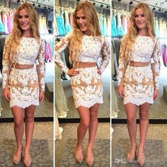 2017 Sexy Two Pieces Homecoming Dresses White Lace Appliques Long Sleeves Sheath Short Mini Party Dress Graduation Formal Cocktail Gowns Homecoming Dress Custom Made Homecoming Dresses Prom Short Party Dress Online with 122.86/Piece on Haiyan4419's Store   DHgate.com