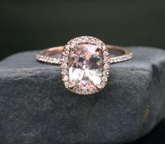 14k Rose Gold 9x7mm Morganite Cushion Halo and by Twoperidotbirds, $899.00