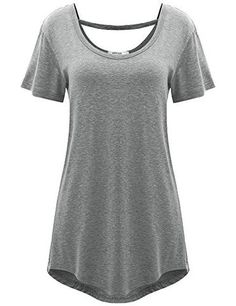 Women's Cross Back Basic Short Sleeve Comfy Loose Fit Long Tunic Top