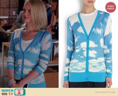 Robyn's blue sky and clouds cardigan on The Good Wife.  Outfit Details: http://wornontv.net/37376/ #TheGoodWife