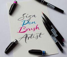 Schriftprobe mit dem neuen Sign Pen Brush Artist / A script sample with the new Sign Pen Brush Artist Workshop, New Sign, Script, Notebook, Calligraphy, Tools, Signs, Artist, Graz