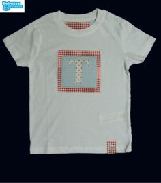 Letter-white tshirt for boy with two fabrics by BebuzzyandFriends, €15.00
