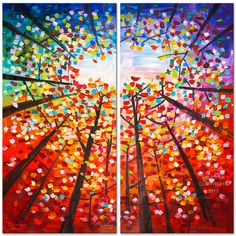 Tree Art Abstract Painting Original impasto modern tree door elseart, $529,00