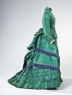 fripperiesandfobs:  Visiting dress ca. 1875 From Kerry Taylor Auctions via Invaluable