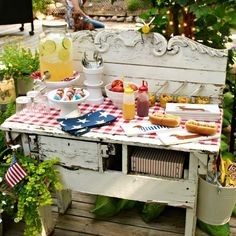 Create a Stylish Outdoor Serving Area.  I love this.  I have an old buffet in my garage that would be perfect!