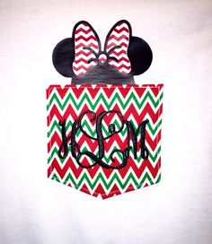 Monogrammed Chevron Pocket Shirt with Christmas Mouse in Pocket by BurlapandLaceSC1 on Etsy https://www.etsy.com/listing/252653023/monogrammed-chevron-pocket-shirt-with