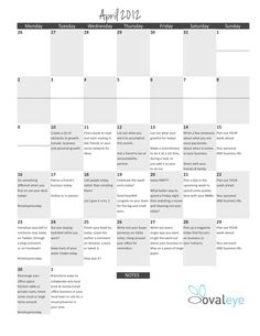 Check out the Home Based Business Ovaleye.com Calendar!