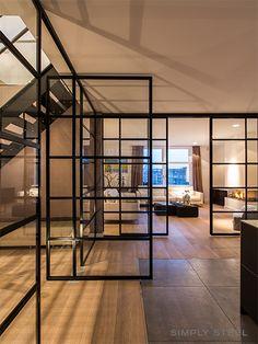 Semi-open plan with steel pivot doors & sliding doors