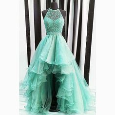 mint hi low prom dress with beading