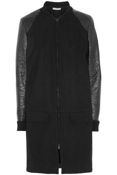 Preen Line | Knife faux leather-sleeved wool-blend coat | NET-A-PORTER.COM
