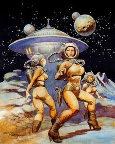 "Dedicated to all things ""geek retro:"" the science fiction/fantasy/horror fandom of the past including pin up art, novel covers, pulp magazines, and comics. Arte Sci Fi, Sci Fi Art, Fantasy Kunst, Fantasy Art, Space Fantasy, Bd Pop Art, Cover Art, Science Fiction Kunst, Retro Futurism"