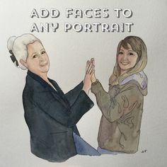 Add facial features to a painting by yellowstring on Etsy