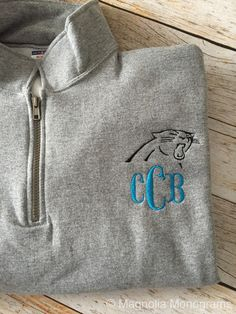 Carolina Panthers Monogrammed Quarter-zip by MagnoliaMonogramsNC.this is the one way I'd be willing to wear my monogram Panthers Football Game, Football And Basketball, Panthers Games, Football Season, Football Outfits, Football Shirts, Carolina Panthers Shirt, Luke Kuechly, Panther Nation