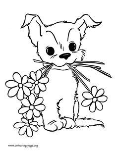 Look! This cute puppy picked beautiful flowers for his mother. Have fun coloring this amazing Mother's Day coloring sheet!