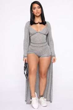 Not Usually Here Romper Set - Heather Grey – Fashion Nova Curvy Women Fashion, Girl Fashion, Fashion Dresses, Womens Fashion, Fashion Nova Models, Girl Outfits, Casual Outfits, Cute Outfits, Black Midi Dress