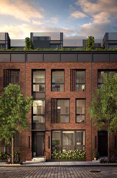 111 Leroy on Behance - Ashley Home Building Facade, Building Exterior, Building Design, Brick Design, Facade Design, Exterior Design, Brick Facade, Facade House, Brick Architecture