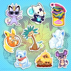 Alolan Friend Stickers! Get em here: theyetee.com They'll be added to my shop later! theyetee.com/miski