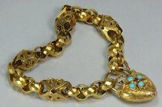 Bold Antique Victorian Gold Padlock Bracelet - This dramatic English 12k gold bracelet is circa 1840.