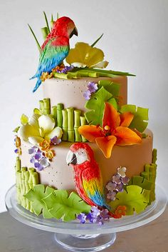 Jimmy Buffet themed Wedding Shower Cake featuring Parrots,Tropical Florals and Sugar-Paste Bamboo from The Pastry Studio:Daytona Beach,Fl. The Pastry Studio Gorgeous Cakes, Pretty Cakes, Cute Cakes, Amazing Cakes, Unique Cakes, Creative Cakes, Decors Pate A Sucre, Super Torte, Wedding Shower Cakes
