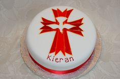 Confirmation cake, dove in cross