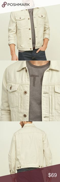 Abercrombie white seeded denim jeans jacket Unworn denim jacket.  Off white color, but not quite cream.  Slightly stretchy, denim quality, and a name you love. Abercrombie & Fitch Jackets & Coats