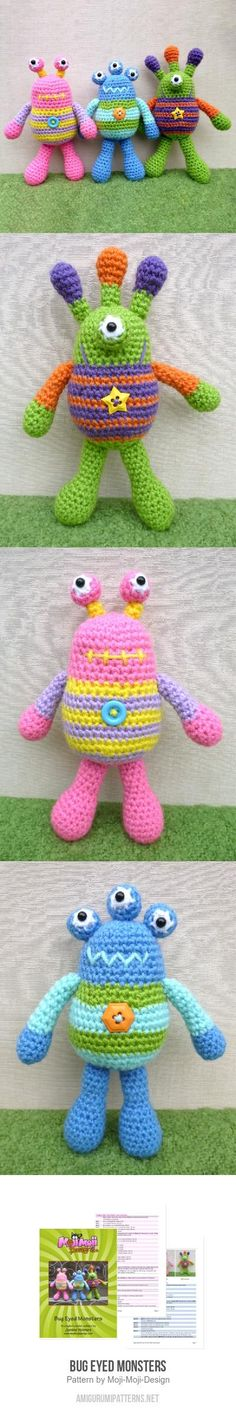Bug Eyed Monsters Amigurumi Pattern for purchase
