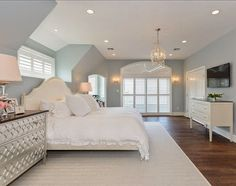 Absolutely Popular Bedroom Color Paint Wall I Benjamin Moore Smoke Wilton Interior Design And Heather Ryder 2017 2016 For Adult Sherwin William Teenager Behr 2015 Dream Rooms, Dream Bedroom, Home Bedroom, Bedroom Decor, Serene Bedroom, Bedroom Ideas, Bedroom Beach, Headboard Ideas, Bedroom Lighting