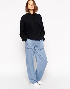 ASOS Soft Wide Leg Trousers In Chambray With D-ring Belt