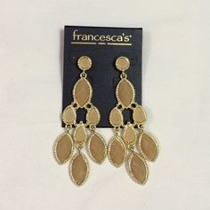 "Francesca's earrings Stunning Francesca's Collections gold and champagne crystal dangle earrings. Pierced stud posts w/protectors. NWT, never worn, no flaws. Approx 3 1/8"" length. Please ask any questions prior to purchasing. Thank you! Francesca's Collections Jewelry Earrings"