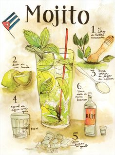 # # # - Food and Drink Cocktails, Party Drinks, Cocktail Drinks, Alcoholic Drinks, Beverages, Mojito Drink, Recipe Drawing, Watercolor Food, Liqueur