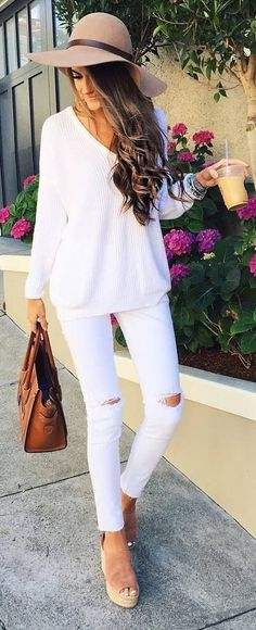 white on white + hat + bag
