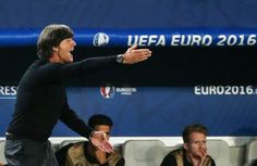 BORDEAUX, FRANCE - JULY 2, 2016: Germany's head coach Joachim Low (L) shouts instructions to his team in their 2016 UEFA European Football Championship quarterfinal match against Italy at Stade de Bordeaux. Alexander Demianchuk/TASS (Photo by Alexander DemianchukTASS via Getty Images)