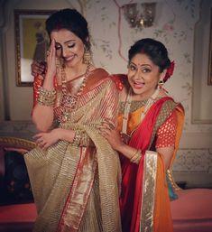 Image may contain: 2 people, people standing and indoor Traditional Sarees, Traditional Looks, Shrenu Parikh, Bollywood Pictures, Sari Dress, Saree Look, Designer Dresses, Designer Sarees, Beautiful Indian Actress