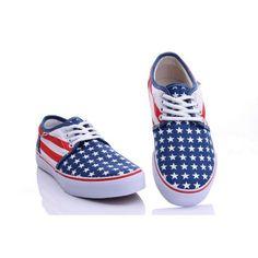 Vans Shoes Blue Flag Classic Canvas Sneakers Blue Vans Shoes, Cheap Converse Shoes, Cheap Van, Vans Skate, Canvas Sneakers, Shoes Outlet, Vans Classic, Blue Flag, Stamp
