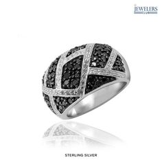 1ctw Genuine Black & White Diamond Ring in Sterling Silver