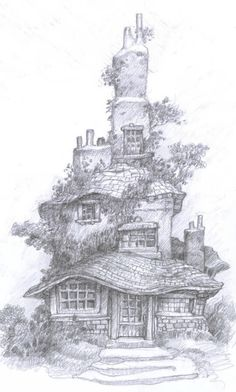 Ideas House Drawing Sketches Pencil For 2019 Anime Tatoo, House Drawing, Castle Drawing, Sword And Sorcery, Coloring Book Pages, Pyrography, Pencil Art, Pencil Drawings, Colorful Pictures