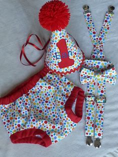Personalized baby boy smash the cake outfit/ photo outfit/first birthday set in circus/carnival dots with red trim on Etsy, $58.00