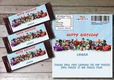 Disney Infinity Candy Bar Wrappers -Printable Infinity Candy Wrapper Party Favor - Party Decorations