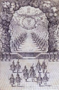 Court ballet, Vlasislav Hall, Prague Castle (Czech Republic), 1617.