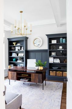 For Two Home Office Design Ideas. Therefore, the requirement for home offices.Whether you are planning on including a home office or refurbishing an old space right into one, right here are some brilliant home office design ideas to assist you get going. Home Design, Home Office Design, Home Office Decor, Home Decor, Office Designs, Design Ideas, Office Style, Blue Office, Masculine Office Decor